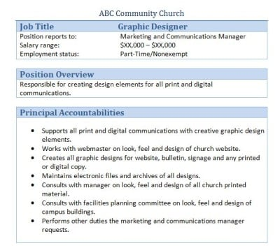 Church Graphic Designer Job Description