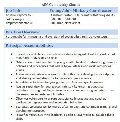 young adults ministry coordinator job description